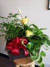 Planter with Yellow Roses
