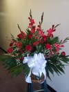 Floor Basket Red Glads and Red Roses