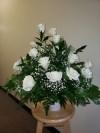 Table Arrangement All White Roses