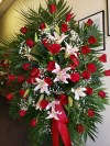 Spray Red Rose with Stargazer Lilies