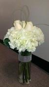 Slim Vase Roses and Hydrangea