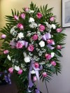 Spray Pink Roses and White Carnations