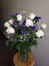 White Roses With Purple