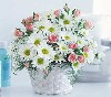 Sweetheart roses & daisy basket