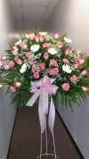 Basket Pink Roses and White Mums