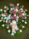 Casket Spray Pink and White Roses