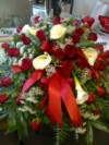 Casket Red Roses and Callas