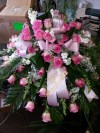 Casket Spray Pink Roses and White Stock