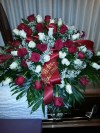 Casket Spray Red and White Roses