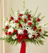 Red and White Basket with Roses 101