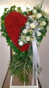 Red Heart with Green Orchids