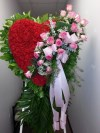 Red Heart with Pink Rose Cluster