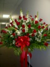 Basket Red Roses & White Snapdragon
