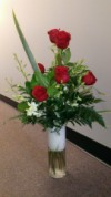 Slim Vase of Roses