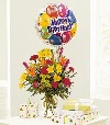 Vase Mixed with Mylar Balloon